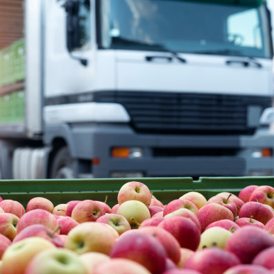 Apples in front of tractor trailer
